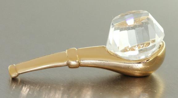 Tabakpfeife zum Sammeln Pfeife vergoldet mit Kristall Pfeife Gold Sammelobjekt