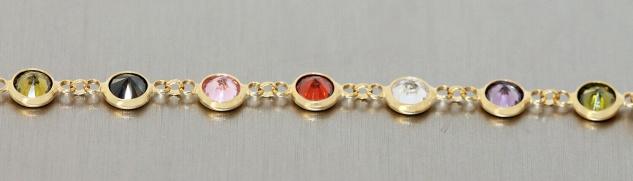 Armband Silber 925 vergoldet Zirkonias multicolor Armkette bunt Damen variabel - Vorschau 4
