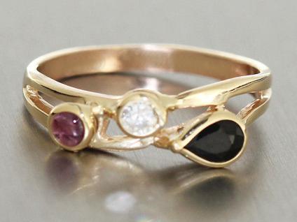 Hübscher Goldring 585 Edelstein Ring Rubin und Saphir Ring Gold Damenring