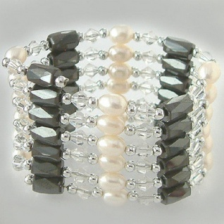 Wunderschöne Kette Silber 925 echte Perlen Magnete Armband oder Fußkette