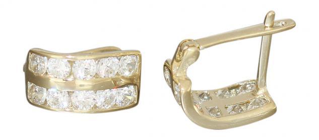 Ohrringe Gold 585 Zirkonias Creolen Klappcreolen Goldohrringe 14 kt