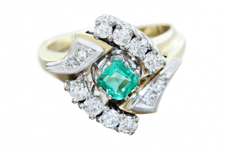 Ring Gold 585 Smaragd 0, 42 ct. Brillanten 0, 75 ct. Smaragdring Damen 8, 6 gr.