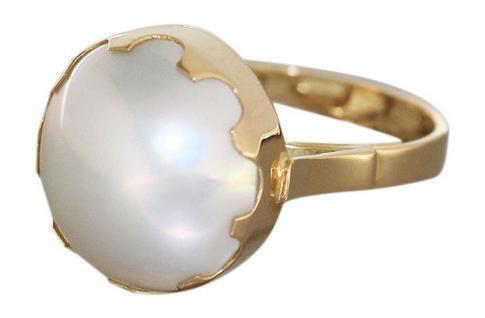 Goldring 18 Kt mit Mabe Perle - Ring Gold 750 - Mabeperle - Perlenring Damenring