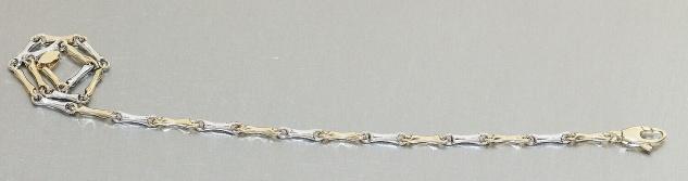 Armband Gold 585 bicolor Armkette Damen 22 cm Gelbgold Weißgold 14 Kt Karabiner