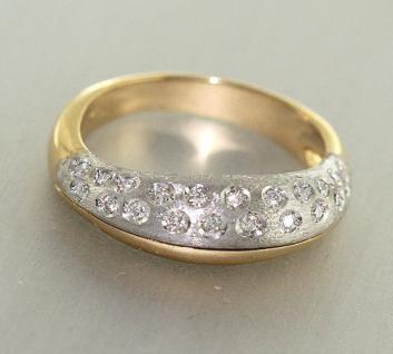 Massiver Goldring 585 Zweifarbengold Brillanten 0, 21ct. Brillantring Ring Gold - Vorschau
