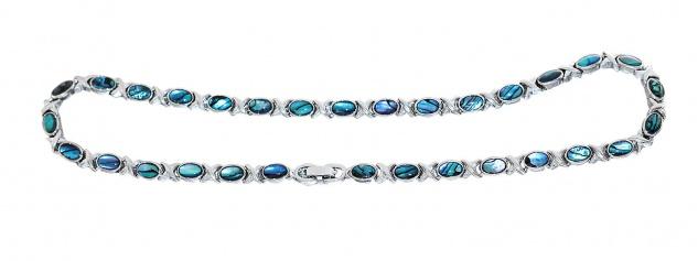 Collier Halskette Armband mit Labradorit Doubletten Damen Schmuckset