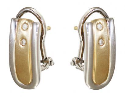 Zweifarbenohrschmuck Gold 585 mit Brillant Ohrclip Goldohrringe Ohrstecker
