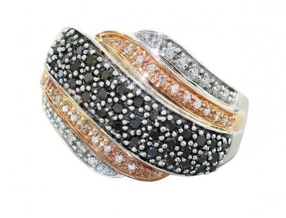 Ring Weißgold 417 / 10 Karat Diamanten weiß u. schwarz 1 ct Goldring Damen