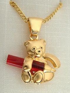 Schmuckset Teddy Gold Anhänger Teddybär mit Bleistift Goldkette pl Panzerkette
