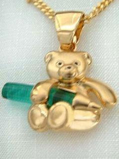 Teddy Gold pl Anhänger und Panzerkette vergoldet Goldkette Set Teddybär Kette