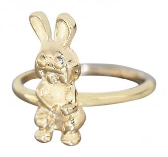 Goldring 585 / 14 Kt Gelbgold Kinderring niedlicher Hase - Ring