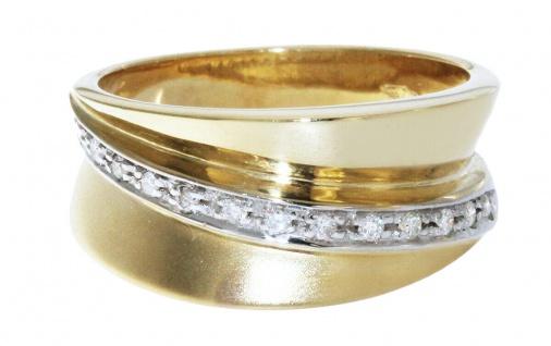 Ring Gold 585 Brillantring 14 Brillanten breiter Damenring 6, 3 gr Goldring 14 Kt