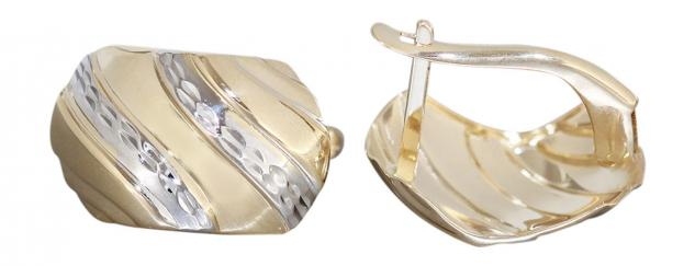 Breite Klappcreolen Gold 585 zweifärbige Ohrringe Creolen Gold 14kt Goldohrringe