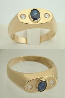 Allianzring mit Saphir und Brillanten Ring Gold 585 Goldring 14 kt