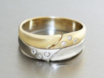 Weißgold Gelbgold Ring 585 mit Brillanten Goldring Brillantring Damen bicolor