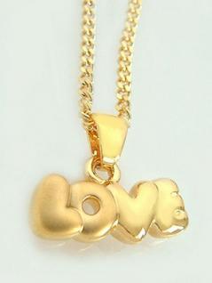 Schmuckset LOVE goldene Kette und Anhänger LOVE Gold pl Goldkette Panzerkette