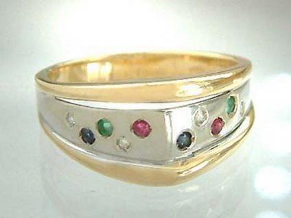 Brillantring mit Edelsteinen Gold 585 Goldring bicolor Ring Edelsteinring 14kt