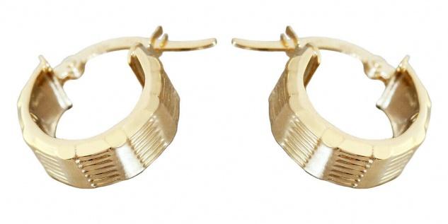 Kleine breite Creolen Gold 585 Ohrringe Ohrschmuck Damen Herren 14kt