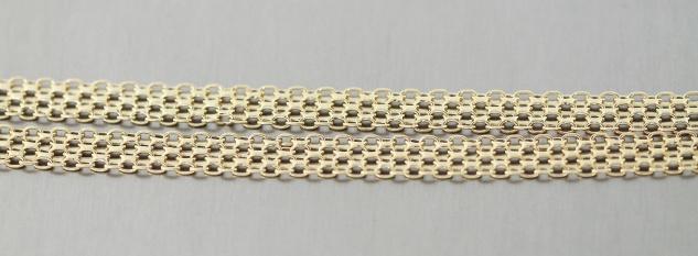 Breites Collier Gold 585 Halskette 45 cm flache Bismarck Goldkette 14 Karat