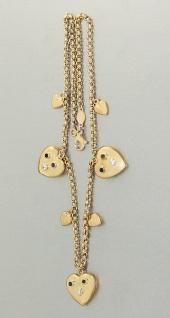 Kette Gold 750 mit 7 Herz Anhänger , Goldkette 750, 18 kt Gold, Collier