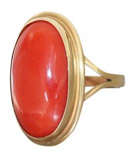 Klassischer Korallenring - Ring Gold 750 Goldring mit ovaler Koralle - Damenring