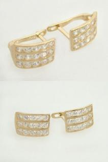 Eleganter Ohrschmuck Gold 585 mit Zirkonias - Creolen - Klappcreolen - Ohrringe