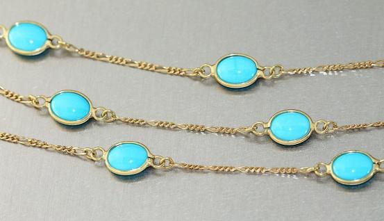 Goldkette 750 Türkis Kette Gold 18 Karat Halskette Collier Damen 45 cm