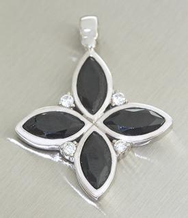 Grosser Anhänger Stern in Silber 925 mit Kristallen in schwarz
