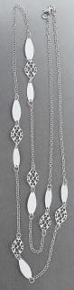 86 cm lange Silberkette massiv Kette 925 rhodiniert mit Dekorgliedern Halskette