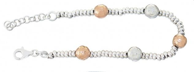Kugelarmband Silber 925 bicolor Silberarmband Rosegold Armkette Perlenarmband