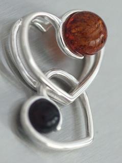 Zwei Herzen Anhänger Silber 925 mit Bernsteinen top Design Herz Anhänger