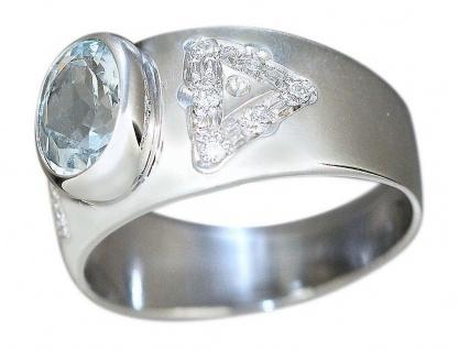 Ring Weißgold 750 Aquamarin Brillanten Damenring WG 18 Karat RW 54