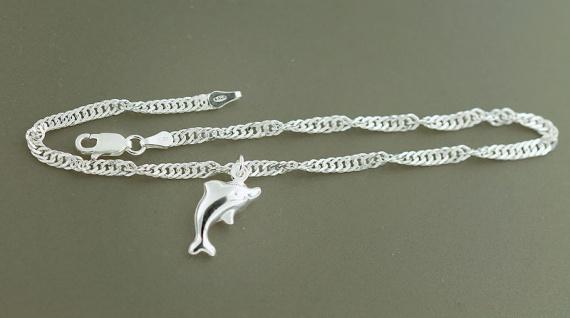 Fußkette Silber 925 massiv Delphin Singapurkette Fußkettchen Anhänger Delfin
