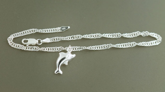 Fußkette Silber 925 massiv mit Delphin - Singapurkette Fußkettchen mit Anhänger