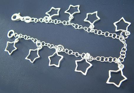 Bettelarmband Silberarmband 925 Sterne Armband Silber Armkette Stern