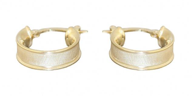 Kleine Creolen Gold 585 breite Ohrringe Ohrschmuck ca. 1, 4 cm Ø Damen Herren
