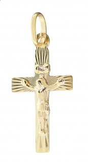 Kleines Kreuz Gold 585 Anhänger Korpus Goldkreuz 14 Kt Kettenanhänger Kommunion