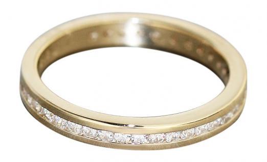 Memoryring Gold 585 Ring mit zahlreichen Zirkonias Goldring Eternity Ring massiv
