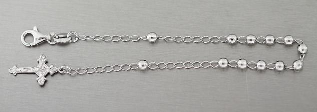 Kugelarmband Silber 925 Silberarmband Rosario mit Kreuz Anhänger Armkette