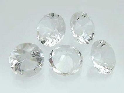 5 Bergkristalle im Brillantschliff 12 mm Durchmesser Bergkristall