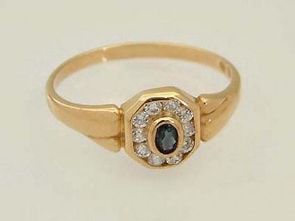 Klassischer Ring Gold mit Saphir und Zirkonia - Goldring 750 - Damenring Solitär