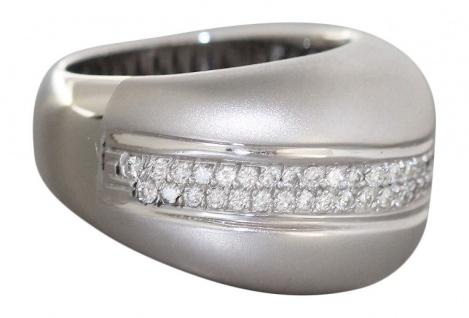 18 gr Weißgoldring 750 - massiver Brillantring - Ring Weißgold Designerring Gold