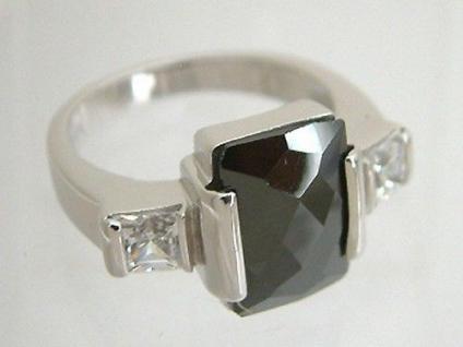 Super Silberring 925 große Zirkonia Schwarz-Weiß Ring Silber Designerring