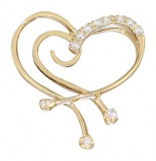 Edler Herz Anhänger Gold 585 Goldherz mit Zirkonias Goldanhänger Herz 14 Kt.