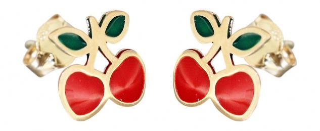 Kinder Ohrstecker Gold 585 kleine Kirschen Ohrringe emailliert Stecker Gelbgold