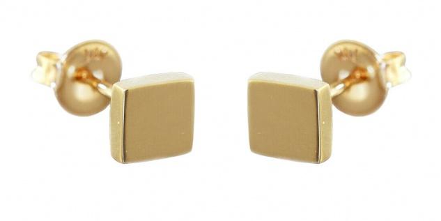 Quadrat Ohrstecker Gold 585 Ohrringe Damen Herren Ohrschmuck 14 Kt.