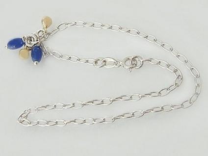 Fußkette Silber 925 mit Anhänger - Fußkettchen - Silberkette massiv rhodiniert