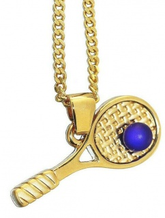 Tennis Goldkette und Anhänger pl Tennisschläger Schmuckset Panzerkette Gold pl