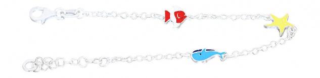 Armband Silber 925 Wal Seestern Fisch bunt Kinder Mädchen Armkette Karabiner - Vorschau 3