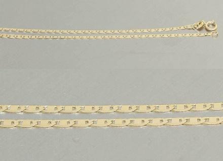 45 cm flache, hochglänzende Goldkette 585 - Halskette - Kette Gelbgold Collier